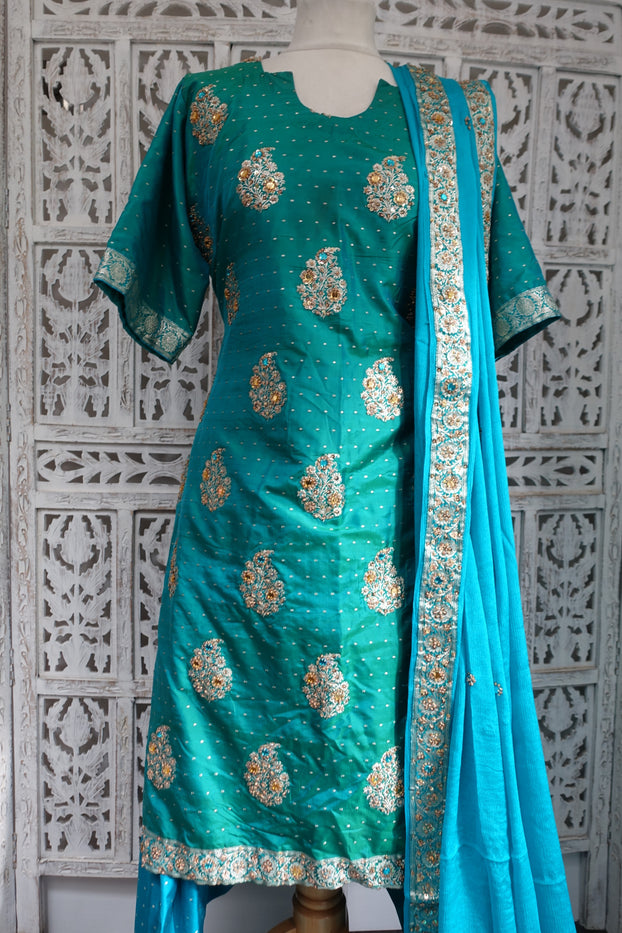 Blue & jade silk salwar Kameez - UK 12 / EU 38 - Preloved - Indian Suit Company