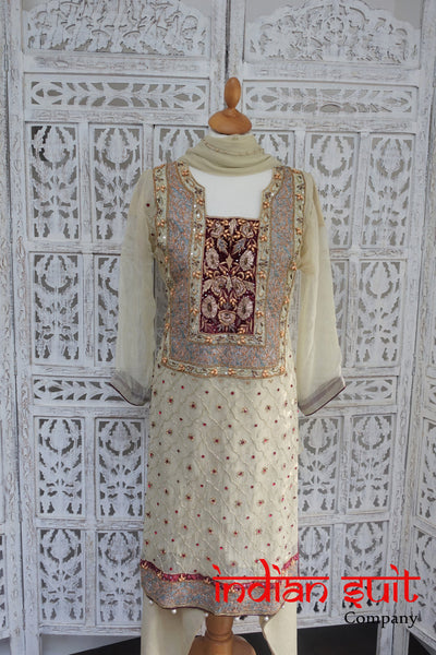 Cream Silk Chiffon Diamante Embellished Trouser Suit - UK Size 12 / EU 38 - New - Indian Suit Company