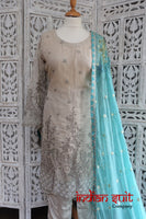 Stone & Aqua Blue Chiffon Capri Trouser Suit - UK 12 / EU 38 - Preloved - Indian Suit Company