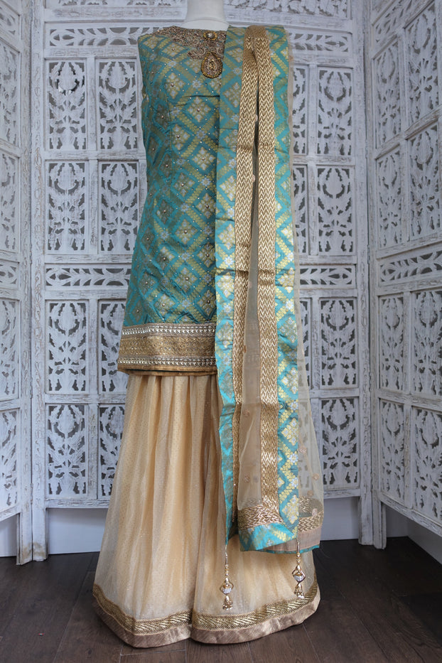 Sea Green & Gold Sharara Suit UK 8 / EU 34 New - Indian Suit Company