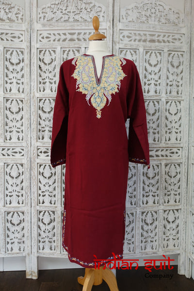 Maroon Wool Parsi Embroidered Tunic - Uk 22 / Eu 48 - Preloved