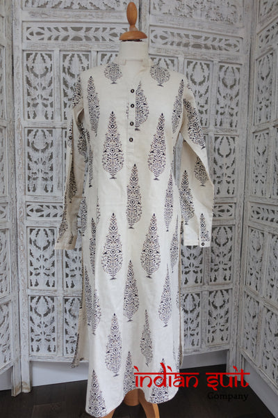 Cream A Line Long Tunic - UK 14 / EU 40 - New - Indian Suit Company
