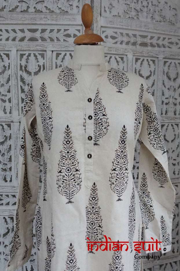 Cream A Line Long Tunic - - UK 14 / EU 40  - New - Indian Suit Company