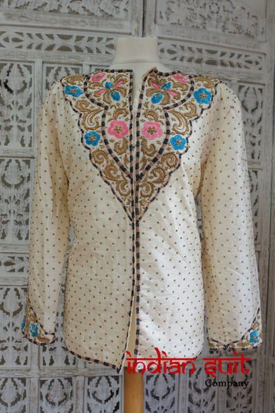 Cream Raw Silk Vintage Jacket / Tunic - UK Size 18 / 44 - Preloved - Indian Suit Company