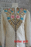 Cream Raw Silk Vintage Jacket / Tunic - UK 18 / EU 44 - Preloved - Indian Suit Company