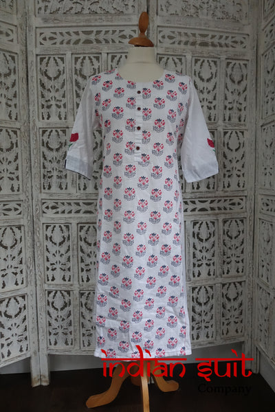 White Embroidered Linen Tunic / Kameez - UK 14 / EU 40 - New - Indian Suit Company