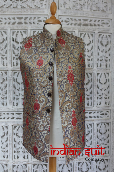 Men's Brocade Sleeveless Indian Jacket Small - Preloved - Indian Suit Company