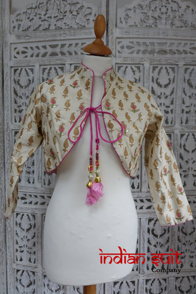 Cream Vasansi Jacket Tunic Block Printed UK 10 / EU 36 - New - Indian Suit Company