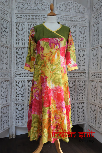 Vibrantly Printed Frock Tunic Kameez UK 10 / EU 36 - Preloved - Indian Suit Company