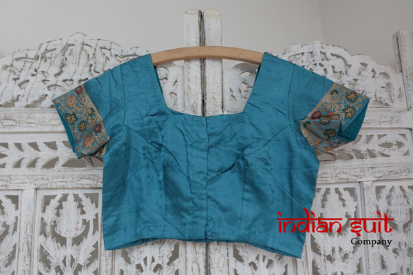 "Blue Brushed Sateen Silk Sari Blouse To Fit 34"" Bust - New - Indian Suit Company"