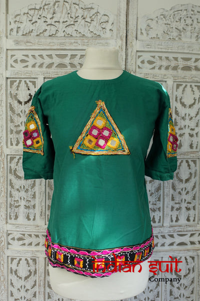 Green Indian Vintage Boho Cotton Mirror Tunic - UK 10 / EU 36 - Indian Suit Company