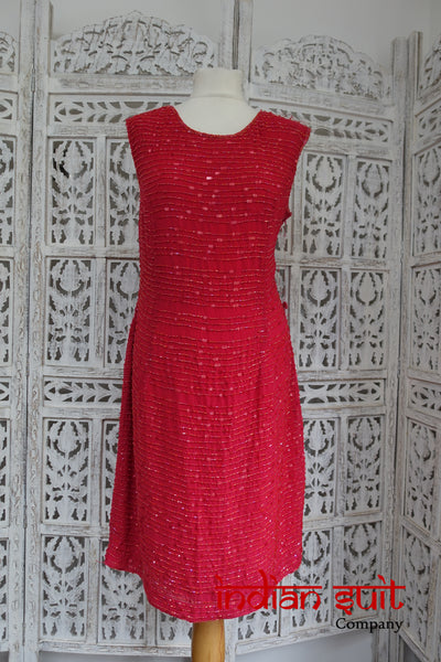 Bundle of two Red chiffon beaded dresses - Preloved - Indian Suit Company