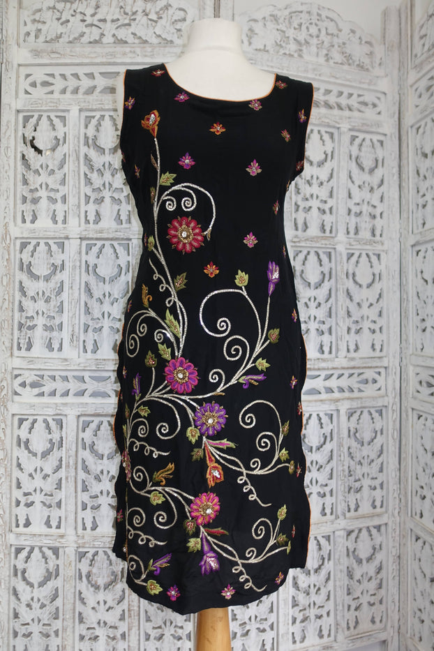 Black Silk Embroidered Tunic - UK 10 / EU 36 - Preloved - Indian Suit Company