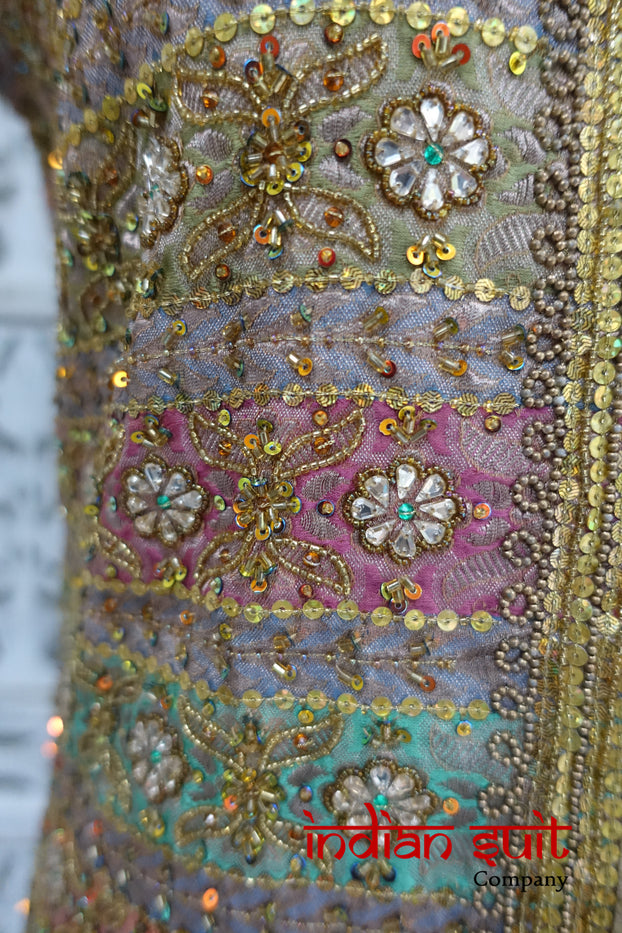 Pastel Banarsi Brocade Tunic UK 10 / EU 36 - New - Indian Suit Company