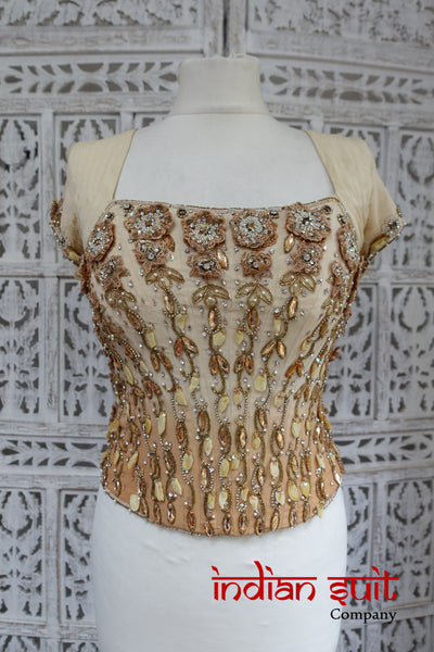 Caramel silk chiffon top - UK size 6 - Preloved - Indian Suit Company
