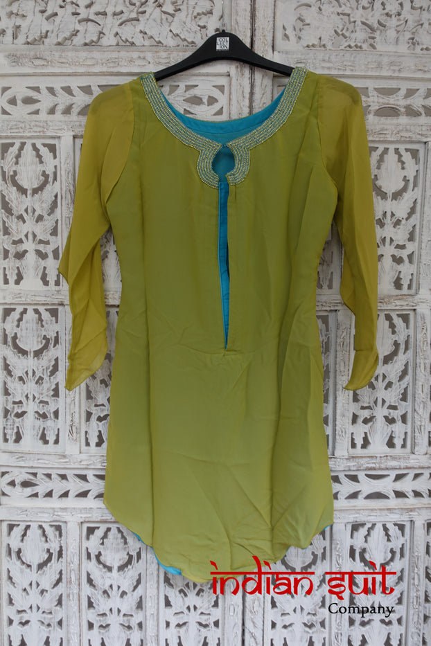 Green & Blue Asymmetrical Tunic UK 6 / EU 32 - Preloved - Indian Suit Company