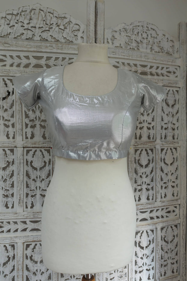 Metallic Silver Choli Tunic To Fit 33½ Bust - New - Indian Suit Company