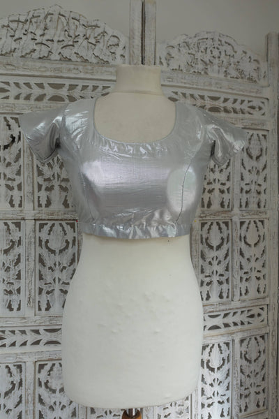 "Metallic Silver Choli Tunic to fit 33"" bust - New - Indian Suit Company"