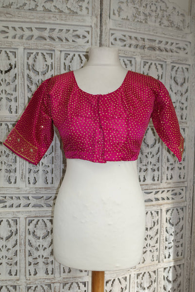 Pink silk vintage choli - UK 8 / EU 34 - New - Indian Suit Company
