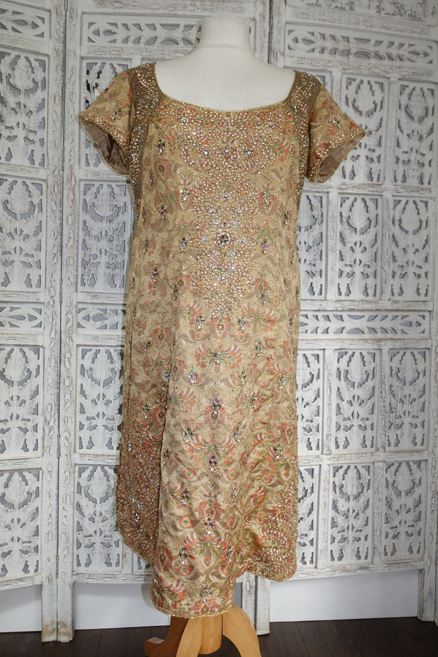 Gold Banarsi Brocade Tunic Kameez - UK 14 / EU 40  - New - Indian Suit Company