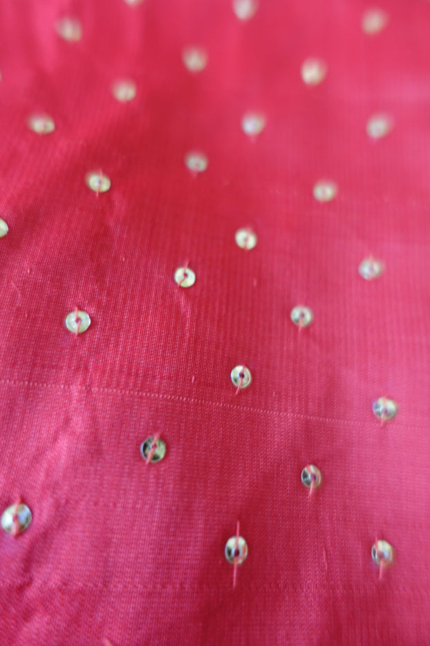Red Silk Sequinned Choli -UK 8 / EU 32 - New - Indian Suit Company