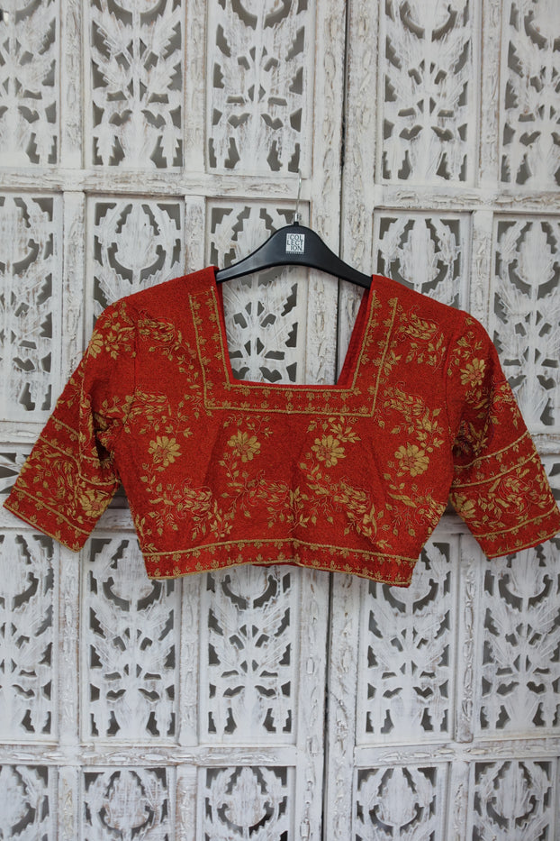 Rust Vintage Silk Tunic UK 8 / EU 34 - Preloved - Indian Suit Company
