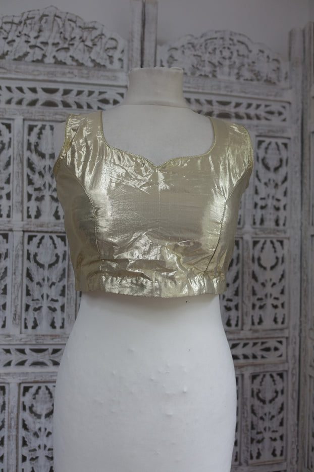 "Gold Metallic Sari Blouse To Fit 34"" Bust - New - Indian Suit Company"