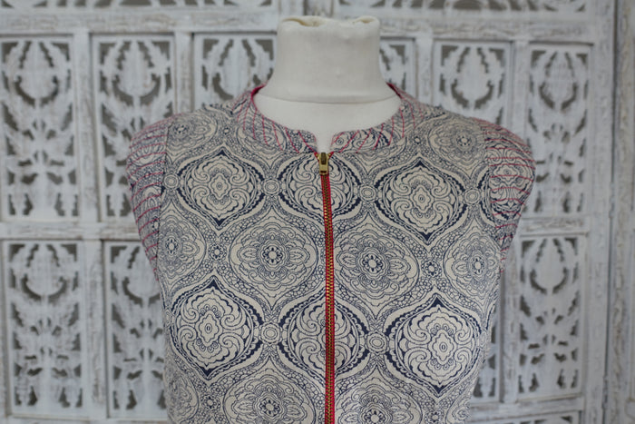 Cream & Navy Printed Long Tunic - UK 16 / EU 42 - Preloved - Indian Suit Company