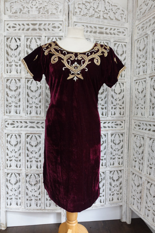 Plum Velvet Kameez- UK Size 18 / EU Size 44 - New - Indian Suit Company