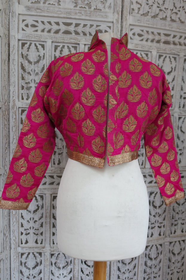 "Pink Brocade Blouse With Collar To Fit 37"" Blouse - New - Indian Suit Company"