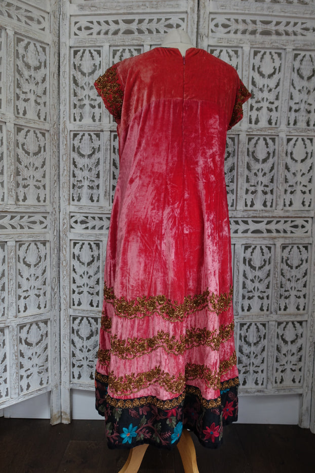 Coral Velvet Embroidered Dress / Kameez - UK 14 / EU - Preloved - Indian Suit Company