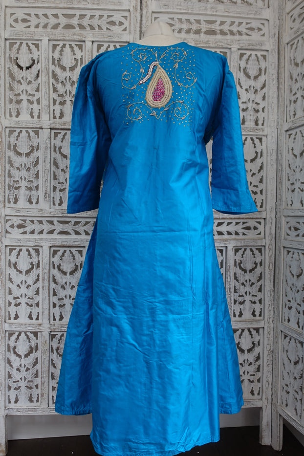 Peacock Blue Vintage Silk Tunic - UK 18 / EU 44 - New - Indian Suit Company