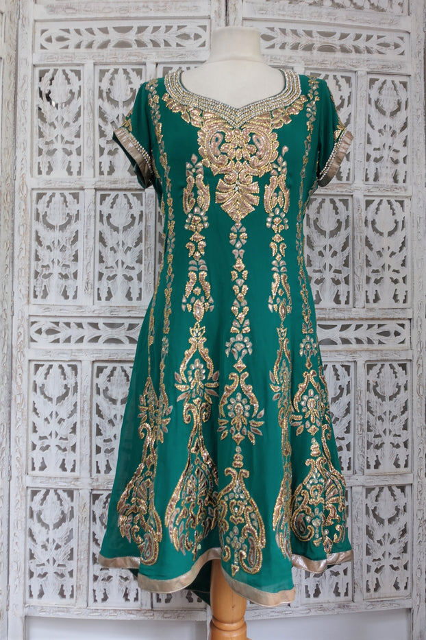 Emerald Green Frock UK 12 / EU 38 - Preloved - Indian Suit Company