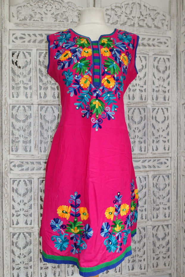 Pink Floral Crewel Tunic Cotton UK 12 / EU 38 - Preloved - Indian Suit Company