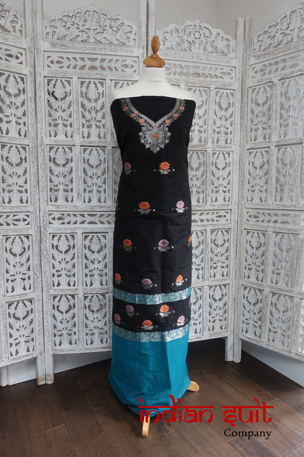 Black And Blue Cotton Silk Blend Unstitched Suit - New - Indian Suit Company