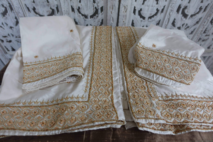 Cream Silk Hand Embellished Ethnic Tablecloth Cover - Indian Suit Company
