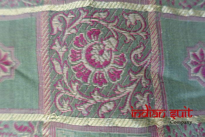 Green Cotton Silk Craft Fabric Unstitched - New - Indian Suit Company