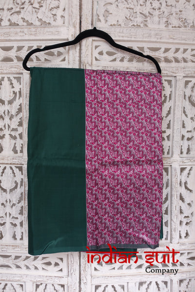 Pink & Dark Green Brocade Silk Unstitched Suit - New