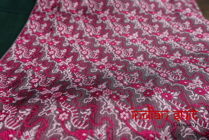 Pink & Dark Green Brocade Silk Unstitched Suit - New - Indian Suit Company