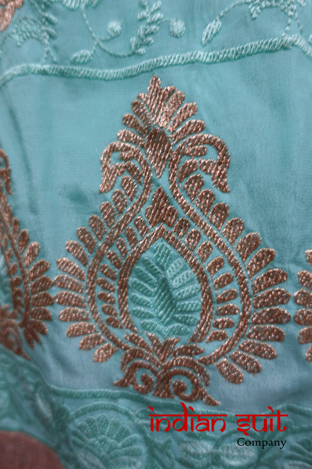Sea Green Embroidered Silk & Lining Unstitched Suit- New - Indian Suit Company