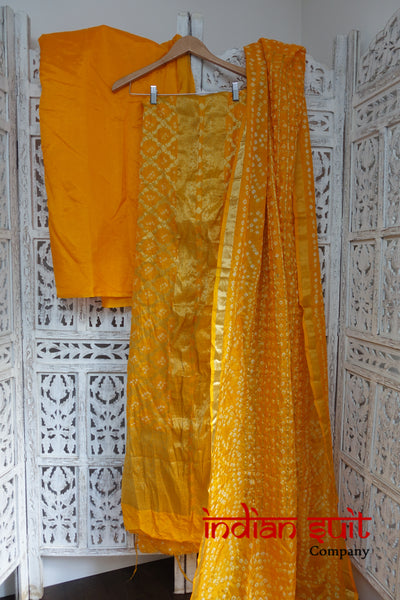 3 Piece Bright Yellow Silk Blend Suit - New - Indian Suit Company
