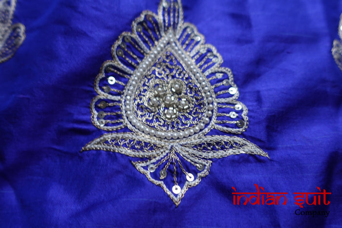 Purple Pure Silk Embellished - New - Indian Suit Company