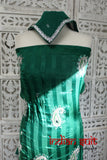 Green Crepe Silk Unstitched Indian Suit - New - Indian Suit Company