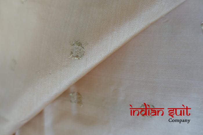 Creamy Gold Pure Silk Unstitched Fabric - New   - Indian Suit Company