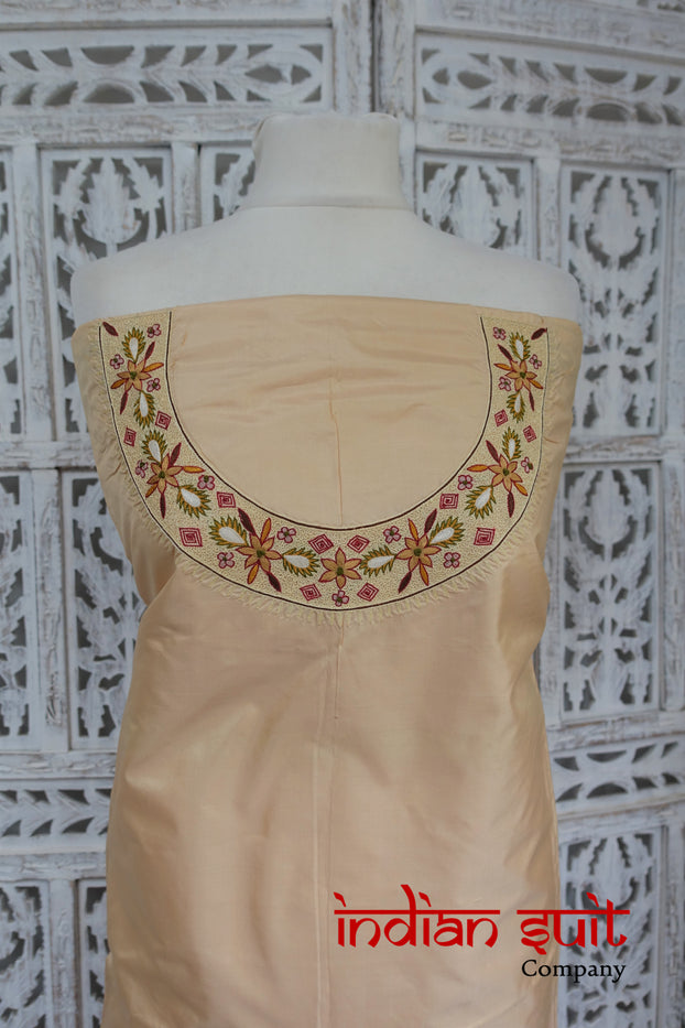 Nude Vintage Pure Silk Fabric - Indian Suit Company