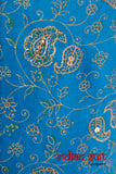 Blue Floral Embellished Vintage Silk - Indian Suit Company