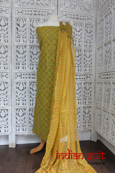 Un16303 Ochres & Yellow Cotton Printed Unstitched - Indian Suit Company