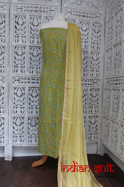 Printed Silk Suit & Dupatta - Indian Suit Company