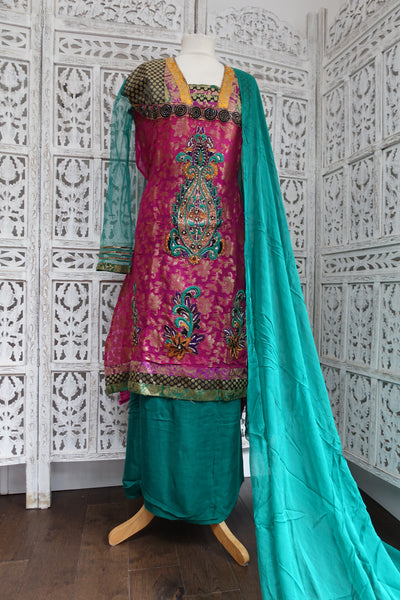 Pink & Jade Semi-Stitched Suit - Indian Suit Company