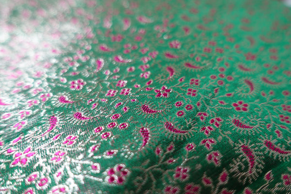 Green & Pink Banarsi Brocade Fabric - Indian Suit Company